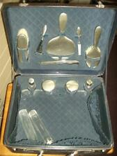 12 piece 1920's Sterling silver  vanity dressing table set .in leather suitcase