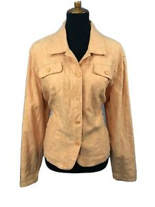 Croft-and-Barrow-Womens-Jacket-Embroidered-Denim-Style-Stretch-Orange-Sz-XL