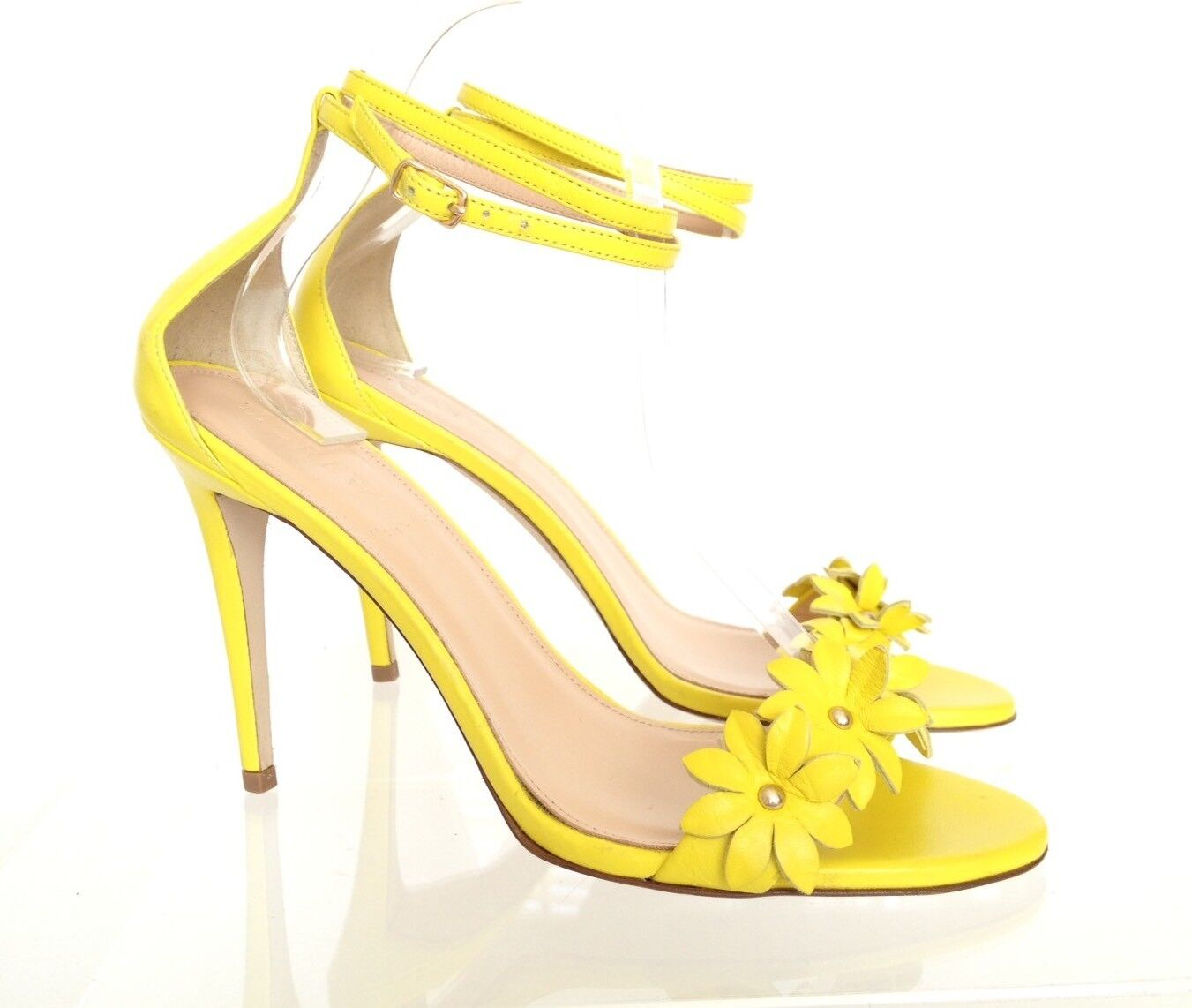 J.CREW Leather Flower High Heel Ankle Strap Sandals 7 Lemon Sorbet Yellow  278