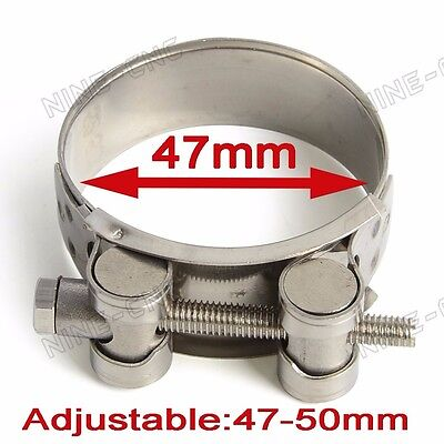 Stainless Steel Motorcycle Exhaust Banjo Clamp Clip Kit 55MM-58MM Universal New
