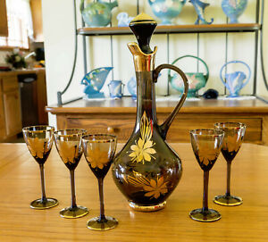 7-Pc-Sherry-Liqueur-Set-Decanter-amp-Cordials-Made-in-Romania-From-1970-039-s