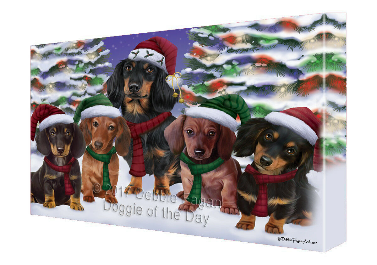 Dachshunds Dog Christmas Family Portrait Holiday Canvas Wall Art