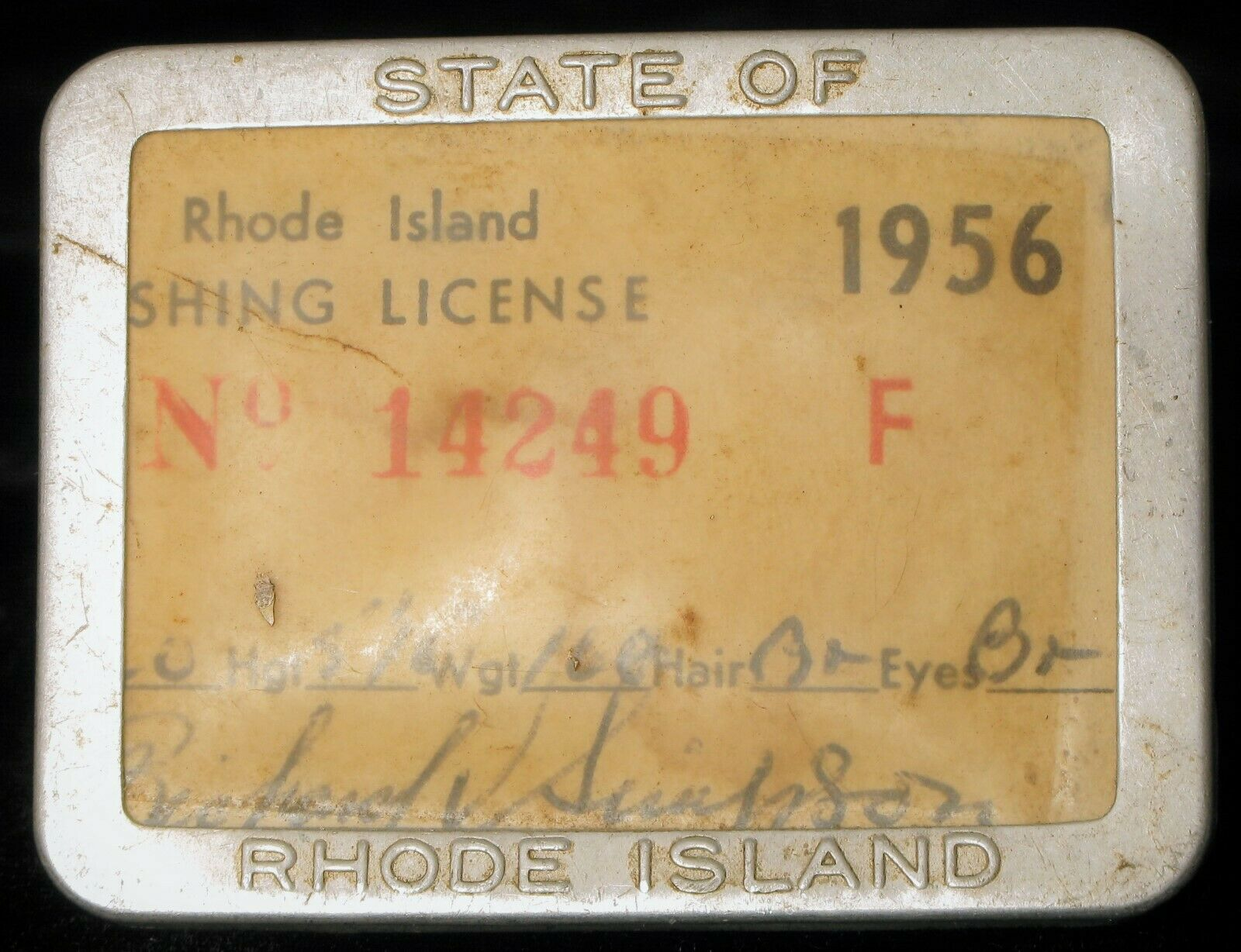ANTIQUE 1950'S RI RHODE ISLAND FISHING LICENSE SPORTSMAN OUTDOOR PIN 3 TAGS