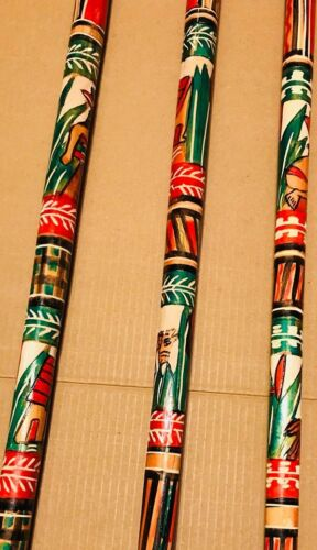 With Rubber Tip T Handle Hand Carved Painted Mexican Walking Cane Stick Staff