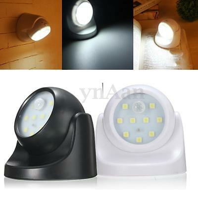 9-LED White Motion Activated Cordless Sensor Light In/Outdoor Garden Wall Lamp