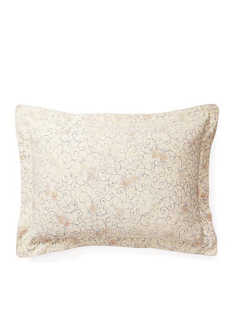 Ralph Lauren Madalena Audrey Floral Standard Pillow Sham In Tan Multi