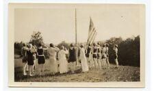 LADIES IN VINTAGE BATHING SUITS SALUTING/RAISING AMERICAN FLAG PHOTO