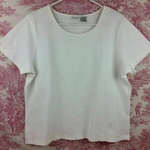 White-Stag-Women-039-s-Knit-Top-White-Short-Sleeve-Stretch-Pullover-Size-XL
