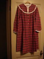 Lanz Of Salzburg Flannel Red Plaid Nightgown Small With Tags $64 Rtl