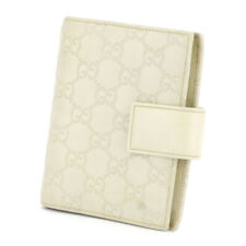 Gucci Notebook Cover Gutchishima Beige Gray Gray Leather Auth Used D2121