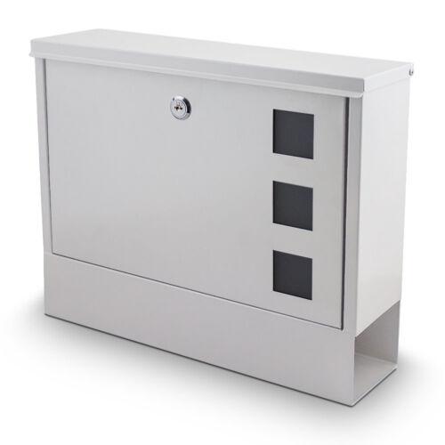 Bituxx Briefkasten Hausbriefkasten Postkasten Mailbox mit Zeitungsfach Weiss