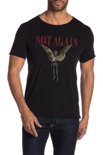 John Varvatos Star USA Men/'s Black Not Again Distressed Graphic Crew-Neck Shirt