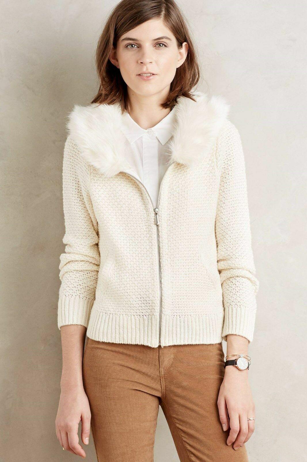 Anthropologie Sleeping on Schnee Branna Ivory Fur Collar autodigan Sweater L NWT