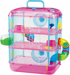 Lazy-Bones-Hamster-Cage-Pink-Three-Storey-Cage-With-Tubes-amp-Tunnels