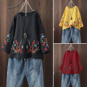 Mode-Femme-Chemise-a-Broderie-Floral-Coton-Manche-Longue-T-shirt-Haut-Tops-Plus