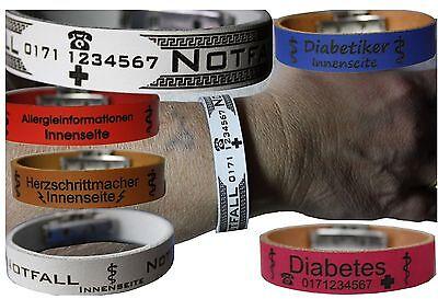 Notfall SOS Leder Armband Gravur Diabetes Allergie Herzschrittmacher Allergiker | eBay