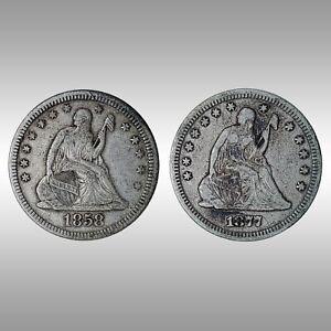 Liberty Seated Quarter - 1858 & 1877 - Philadelphia Mint - Two (2) Coin Lot