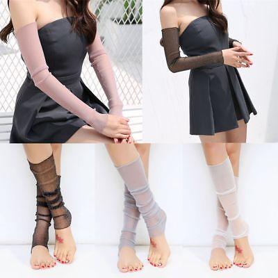 Summer Anti-UV Long Arm Fingerless Women Mittens Sunscreen Gloves Leg Socks