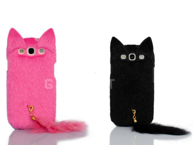 Newest 3D Cute Fluffy Tail Cat TPU Case Cover for Samsung Galaxy S3 i9300