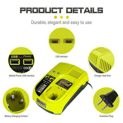 P108 P100 P104 12V-18V Lithium /& NiCD /& NiMH Battery P117 Charger for Ryobi ONE