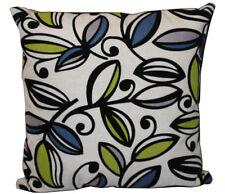 Geometric Suede Leaves Print on Beige Jute Finish 16 x 16 Cushion Cover Sofa Bed