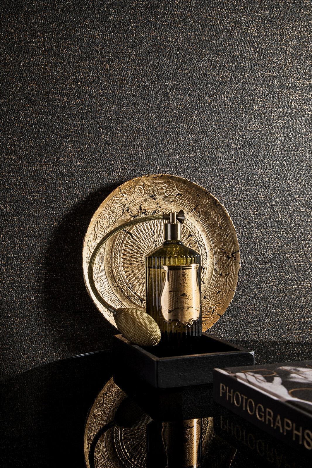 vlies tapete uni struktur dunkel braun schwarz gold loft ebay. Black Bedroom Furniture Sets. Home Design Ideas
