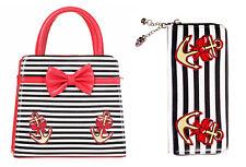 Prohibido 50s Rockabilly Stripe Premium Hello Sailor Arco Cartera Bolso De Mano & Billetera conjunto