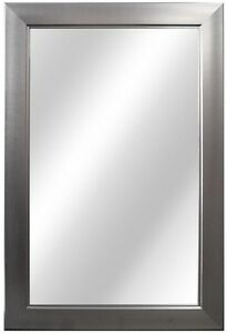 In rectangle shaped framed fog free wall mounted Bathroom wall mirrors brushed nickel