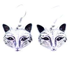 Vintage retro style antique silver coloured fox dangle earrings
