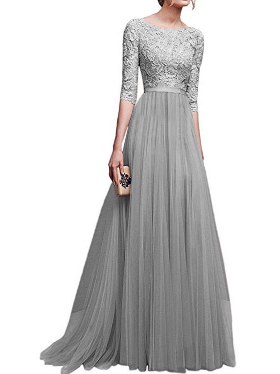 Long Chiffon Evening Dress Prom Dress Party Dress Dress 3/4 Sleeve s ...