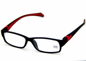 5df67b4279e8 Square Frame Black & Red Temple W/ Emboss Fashion Reading Glasses ...