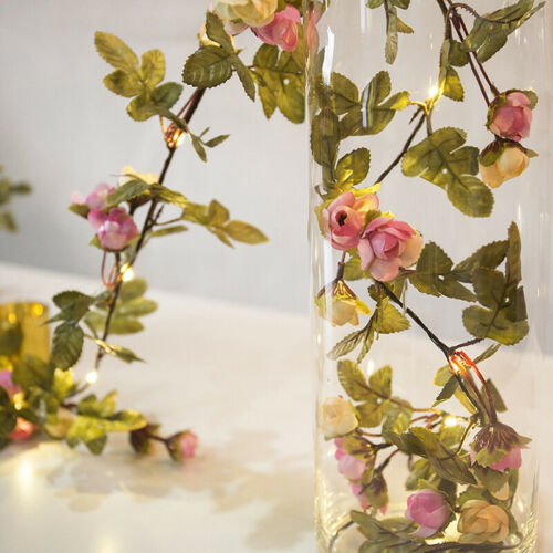 LED Artificial Rose Flowers Berry Fairy String Lights Party Wedding Lamps Decor