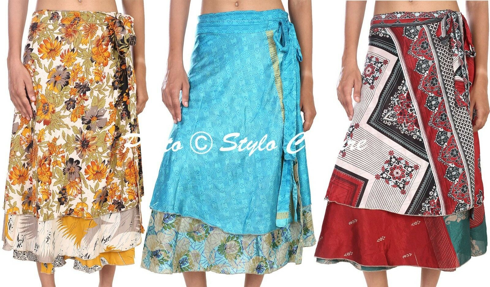 Indian Women Fashion Skirts 20 PC Wholesale Lot Art Silk Rapron Wrap Round