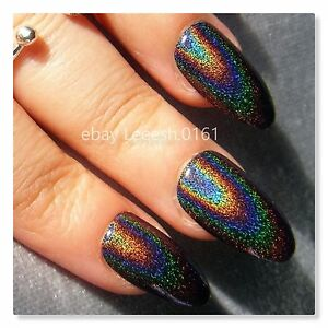 HOLOGRAPHIC FALSE NAILS Holo Flakes Stiletto Pointy Galaxy
