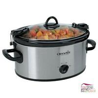 Crock-pot Slow Cooker Stainless Steel Portable 6 Quart With Locking Lid Kitchen