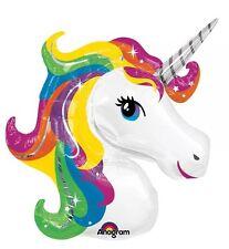 """33"""" Unicorn Head SuperShape Metallic Foil Balloon"""