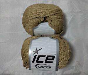 Air-Shine-Beige-51465-Ice-Yarn-Lot-of-2-Skeins-Acrylic-Polyamide-50g-76y
