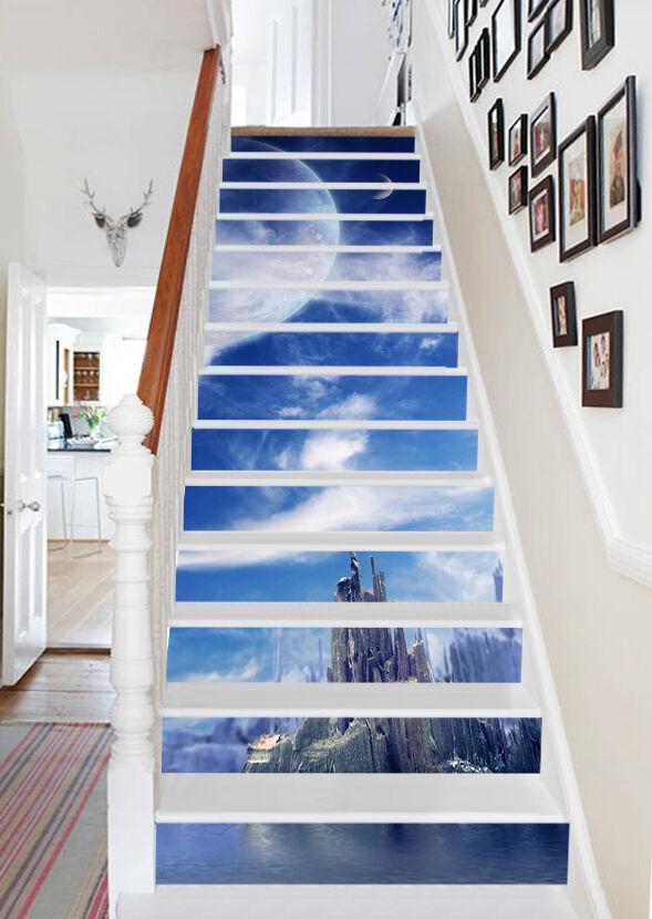 3D Wolke Himmel 45 Stair Risers Dekoration Fototapete Vinyl Aufkleber Tapete DE