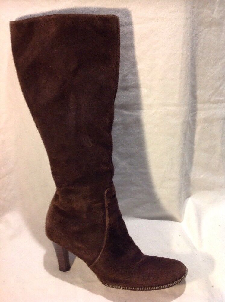 Bhs Brown Knee High Suede Boots Size 6
