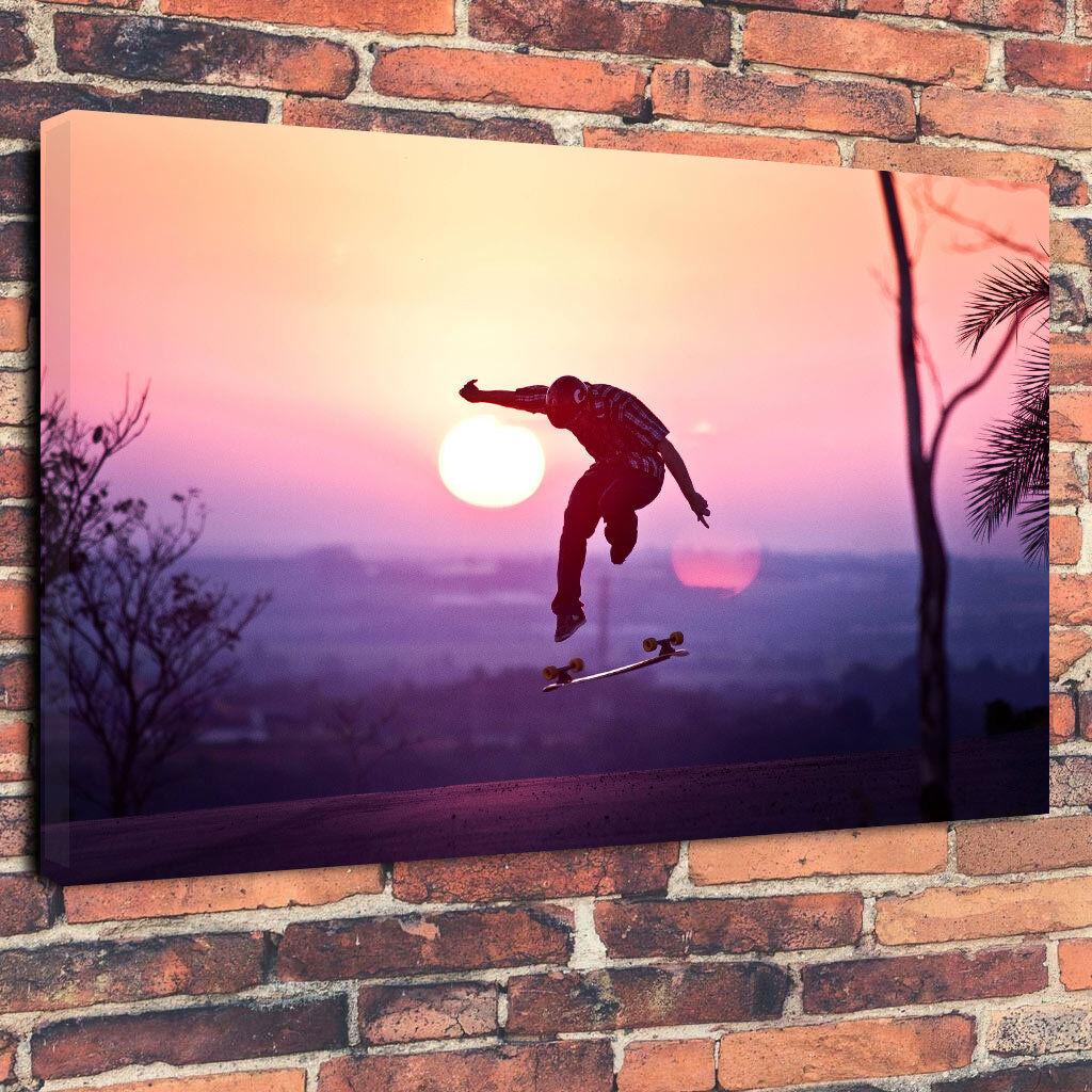 Skateboard Skateboard Skateboard nel tramonto stampa foto su tela A1.30 x20  30mm Deep Wall Art 25bd29