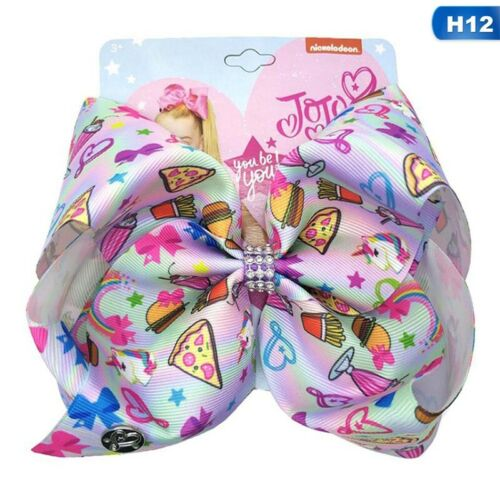 """8/""""Cartoon JoJo Smile Unicorn Bow Clip Girl Kids Bowknot Accessories #cat Ll #mi"""
