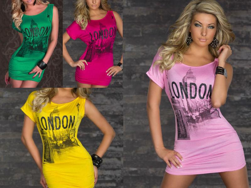 *♥*sexy Mini Kleid Oder Langeshirt Oberteil Schriftzug London Größe 34/36