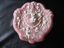 Vtg Incolay Pink Stone Trinket Dresser Top Jewelry Box Ornate Cherubs Angels