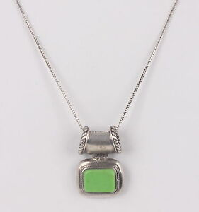 Sterling silver thailand lime green stone pendant chain necklace 925 image is loading sterling silver thailand lime green stone pendant chain aloadofball Choice Image