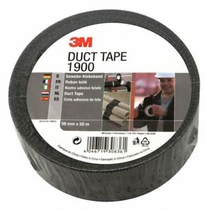 3M-1900-Duct-Tape-50mm-x-50m-Roll-Black-New-Sealed-Pack