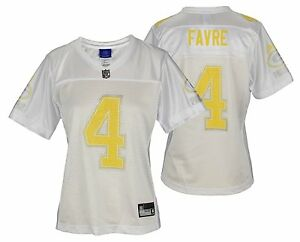 GREEN BAY PACKERS BRETT FAVRE  4 NFL WOMENS FASHION JERSEY WHITE ... 40a8b392d