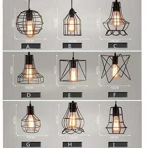 Mixed Vintage Edison Metal Wire Cage Hanging Lamp Shade
