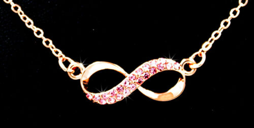 Love Forever Infinity Pink Austrian Crystal Rose Gold Tone Pendant Necklace P873