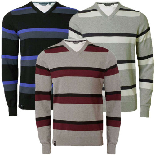 Mens Jumper Knitwear Striped V Neck Cotton Sweater With T shirt Insert Pullover