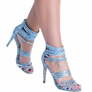 56d337bd0caee4 Women s Girls Stiletto High Heel Strappy Caged Shoes Gladiator Zip ...